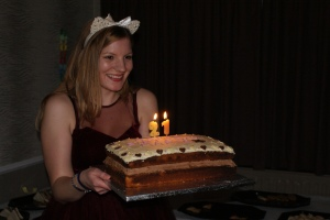 Me and my beautiful birthday cake.  Made by Bethany