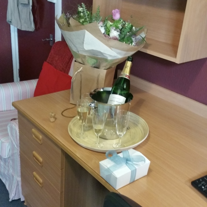 Flowers, Champagne and chocolates were waiting for me in my room.
